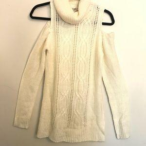 Cute Cold Shoulder Cowel Neck Sweater